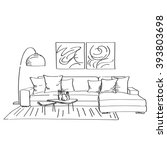 Hand drawn sketch of modern living room interior with a couch and a lot of pillows, designers lamp and small coffee table. | Shutterstock vector #393803698