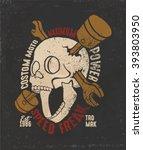 Vintage Motorcycle Skull Desig...