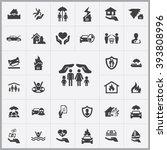 simple insurance icons set.... | Shutterstock .eps vector #393808996