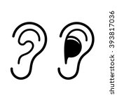 ear and earplug icons set.... | Shutterstock .eps vector #393817036