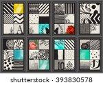 set of vintage creative cards   ... | Shutterstock .eps vector #393830578