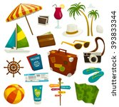 travel object set isolated on... | Shutterstock .eps vector #393833344