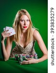 young woman in casino gambling... | Shutterstock . vector #393835279