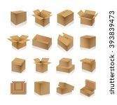 set of various cardboard boxes... | Shutterstock .eps vector #393839473