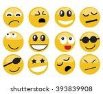 emoticon. vector style smile... | Shutterstock .eps vector #393839908