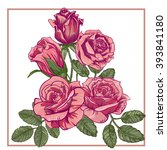 five red roses.  | Shutterstock .eps vector #393841180