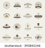 vintage restaurant logos design ...   Shutterstock .eps vector #393842146