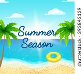summer holiday background.... | Shutterstock .eps vector #393843139