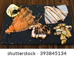 delicious smoked salmon fish... | Shutterstock . vector #393845134
