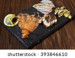 delicious smoked salmon fish... | Shutterstock . vector #393846610