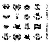 peace icons set | Shutterstock .eps vector #393851710