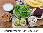 foods high in magnesium on a... | Shutterstock . vector #393853459