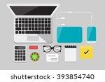 flat lay technology vector... | Shutterstock .eps vector #393854740