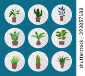 set of green indoor flat style... | Shutterstock .eps vector #393857188