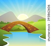 cartoon summer landscape with... | Shutterstock .eps vector #393862606