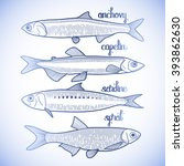 graphic small  fish collection... | Shutterstock .eps vector #393862630