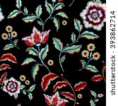 Stock photo retro stylized flower pattern illustration 393862714
