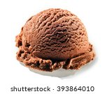 Stock photo one rounded scoop of delicious homemade chocolate flavored italian ice cream on a white background 393864010