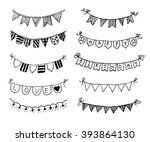 hand drawn doodle bunting flags ... | Shutterstock .eps vector #393864130