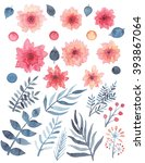 set of watercolor red delicate... | Shutterstock . vector #393867064