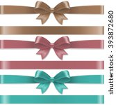 pastel color bows set with... | Shutterstock .eps vector #393872680