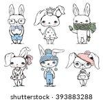 set of cute different bunnies...   Shutterstock .eps vector #393883288