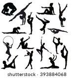 set of gymnasts vector... | Shutterstock .eps vector #393884068