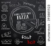 pizza and ingredients for... | Shutterstock .eps vector #393885523