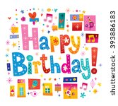 happy birthday greeting card... | Shutterstock .eps vector #393886183