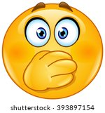 emoticon covering his mouth... | Shutterstock .eps vector #393897154