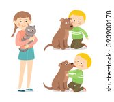 Stock vector children and pets child lovingly embraces his pet dog little dog licking boy s cheek teenage 393900178