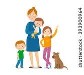 mother with three children.... | Shutterstock .eps vector #393900964