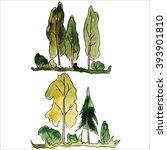 watercolor trees  raster   Shutterstock . vector #393901810
