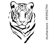 vector silhouette of tiger on... | Shutterstock .eps vector #393902794