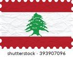 wrinkled paper lebanon stamp ... | Shutterstock . vector #393907096
