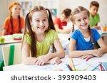 portrait of two schoolchildren... | Shutterstock . vector #393909403