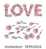 love sign or lettering made... | Shutterstock .eps vector #393912016