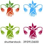 gynecology logo  flowers on the ... | Shutterstock .eps vector #393913600