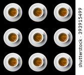 nine coffee cups top view on... | Shutterstock . vector #393915499