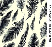 digital and watercolor feathers ... | Shutterstock . vector #393921403