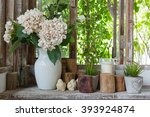 White Flower Vase And Small...