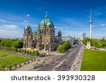 Stock photo aerial view of berlin cathedral at lustgarten park with famous tv tower in the background on a 393930328