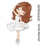 Cute Ballerina Girl Girl Vecto...