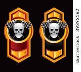 racing skull and checkered... | Shutterstock .eps vector #39393562
