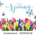hello  spring. spring concept.... | Shutterstock .eps vector #393940318
