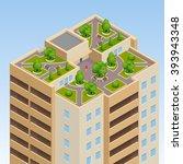 green roofs  roof garden  eco... | Shutterstock .eps vector #393943348