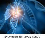 3d Medical Background With Dna...