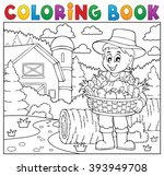 coloring book farmer with... | Shutterstock .eps vector #393949708