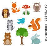 set of cute cartoon animals | Shutterstock .eps vector #393951460