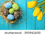 easter card with colorful eggs... | Shutterstock . vector #393962650